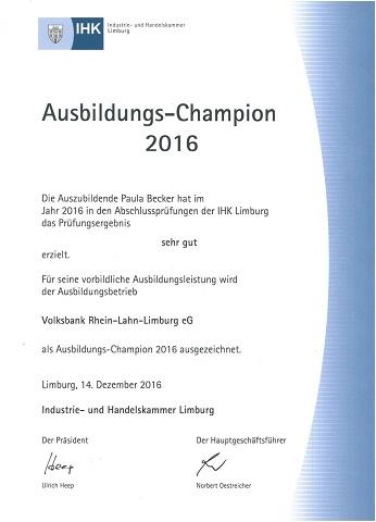 Ausbildungs-Champion 2016